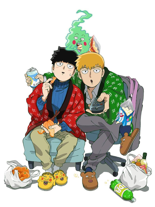 Mob, his mentor Reigen, and Dimple from MOB PSYCHO 100 sitting in casual clothes and surrounded by snacks.