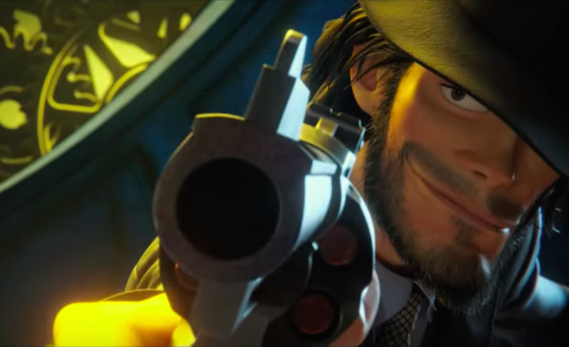 Daisuke Jigen peering from beneath his hat while aiming his gun at the camera.