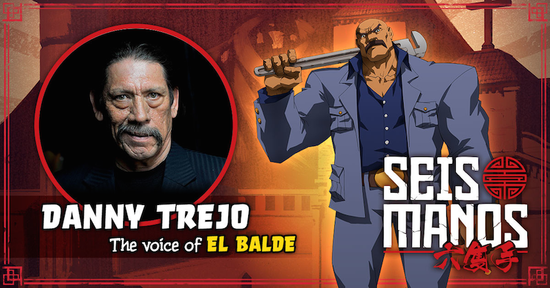 An image showing El Balde, with a note showing he is played by Danny Trejo.