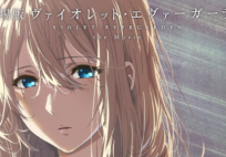 Violet Evergarden, the anime's titular character, with her hair down in a promo for the new movie.